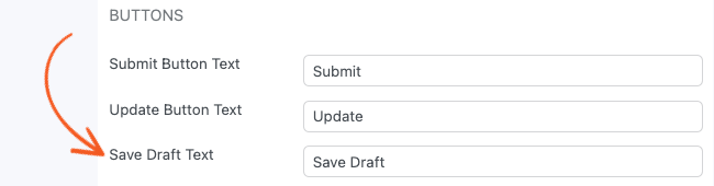 Form Settings Save Draft Text
