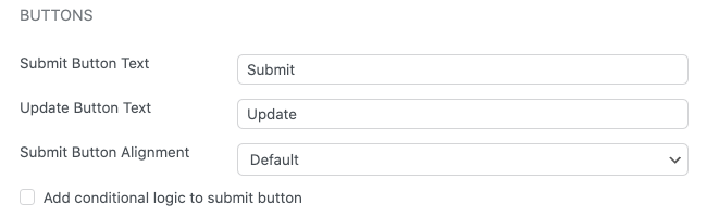 Form Settings Styling & Buttons