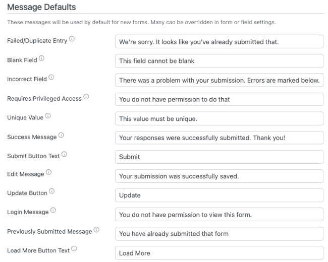 Global Settings Default Messages