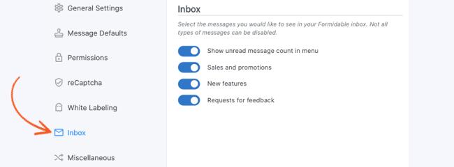 Global Settings Inbox Settings