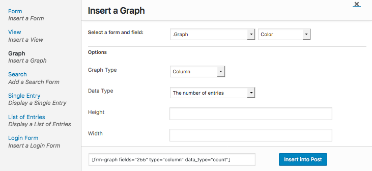 Graph Shortcode Builder