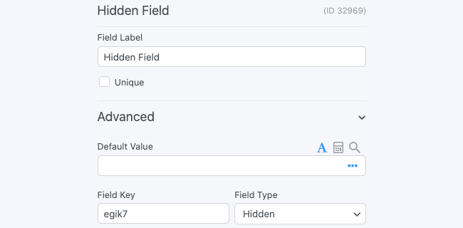 Hidden Field Options