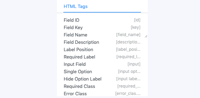 HTML Tags Modal Field Boxes
