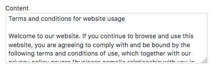 HTML content box T&C