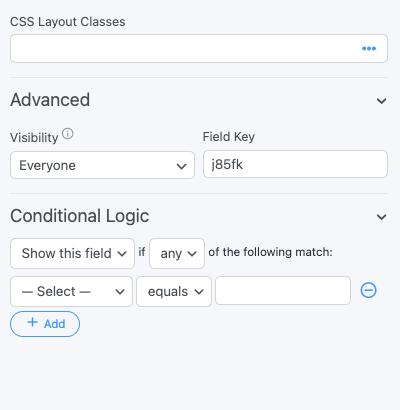 HTML Field Options