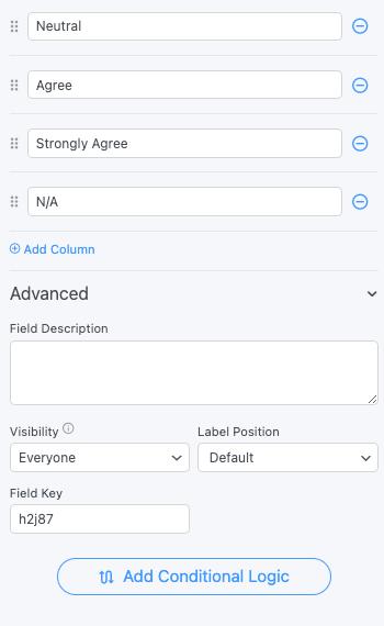 Likert Scale Field Options