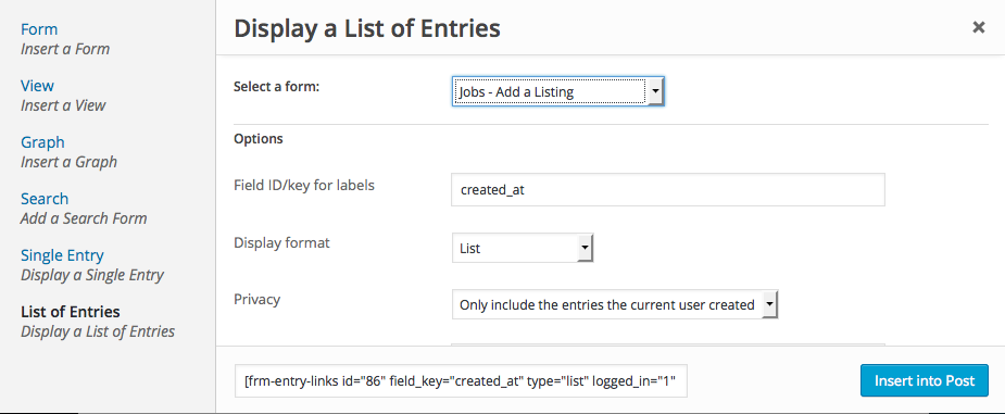 List Entries Shortcode Builder