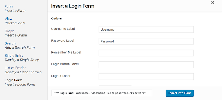 Add WordPress Login Form