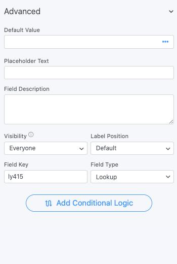 Lookup Field Options