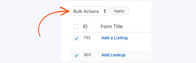 Manage Forms Listings Bulk Delete
