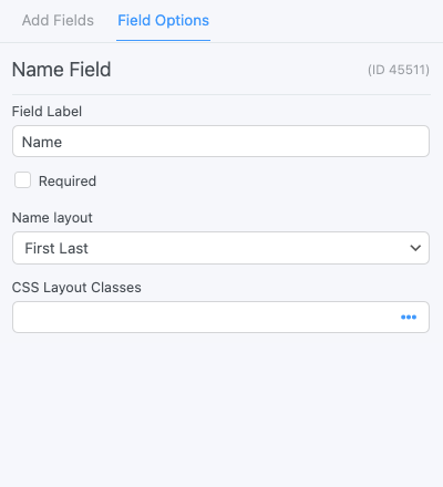 Name Field Options