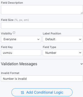 Number Field Options