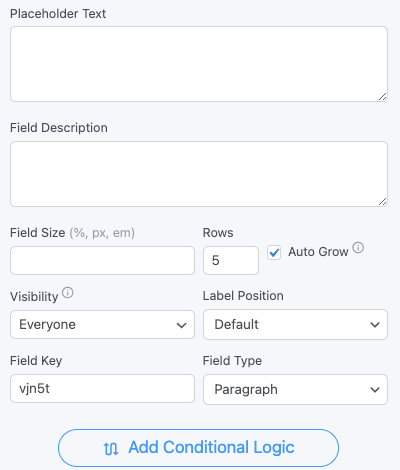Paragraph Text Field Options