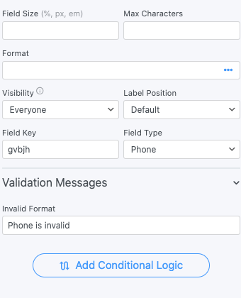 Phone Number Field Options