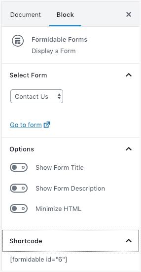 Publish Form Block form Settings