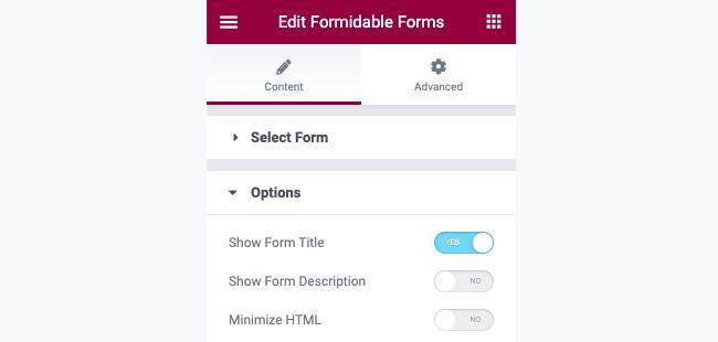 Publish Form Elementor Widget Options