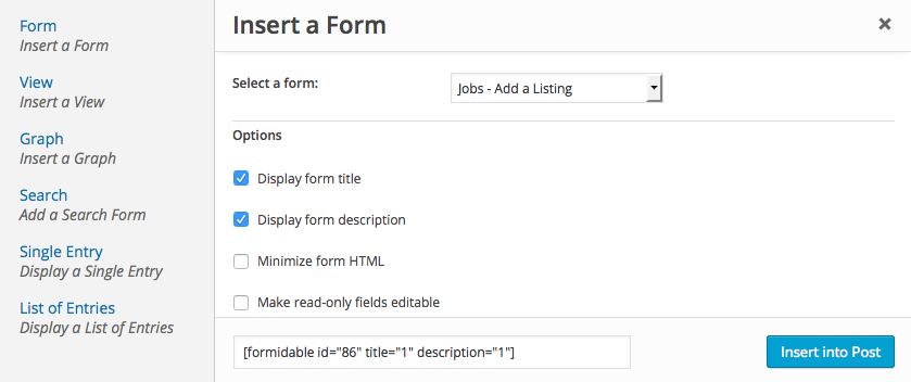 Publish Form Shortcode Builder