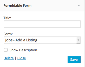 Publish Form Widget