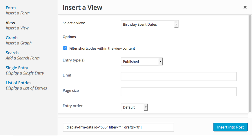 Publish View Shortcode Builder