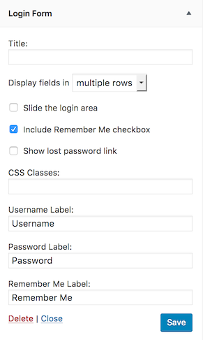 custom login form widget settings
