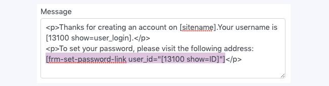 Register Reset Password Shortcode Set Password