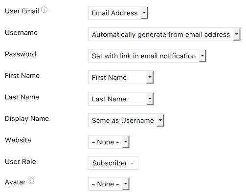WordPress registration form options
