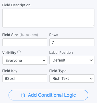 Rich Text Field Options