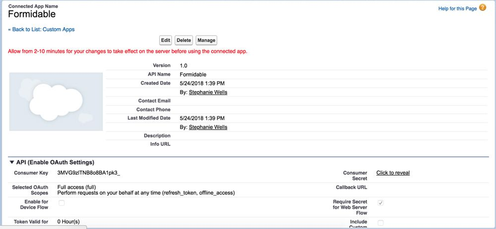 Salesforce forms client key