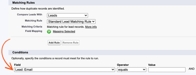 Salesforce Duplicate Rules Conditions records