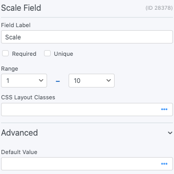 Scale Field Options