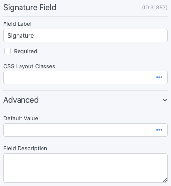 Electronic Signature Forms - Field Options