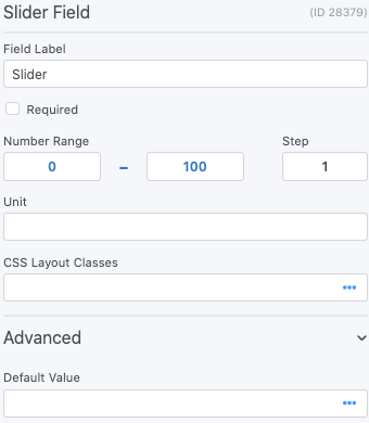 WordPress range Slider Field Options