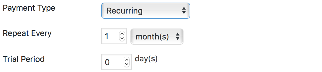 Stripe Forms Action - Payment Type Recurring