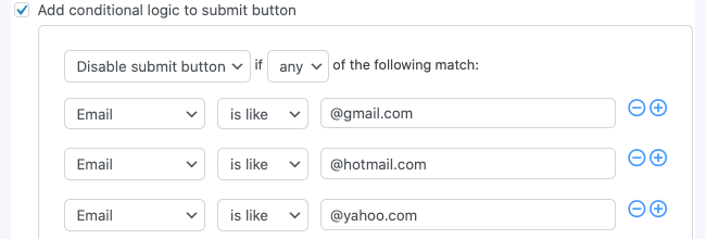 Submit Button Logic Restrict email address