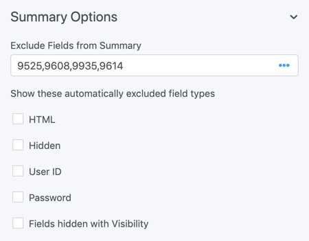 Summary Field Options