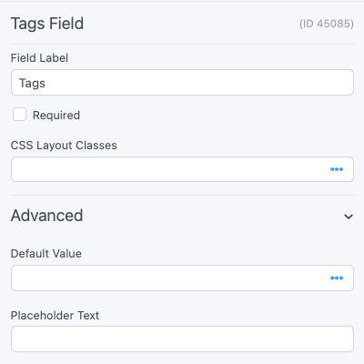 Tags Field Options