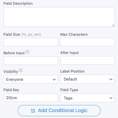 Tags Field Options