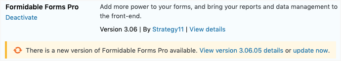 Updating Formidable Forms Pro - Notification Update