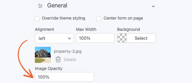 Visual Form Styler Background Image Opacity