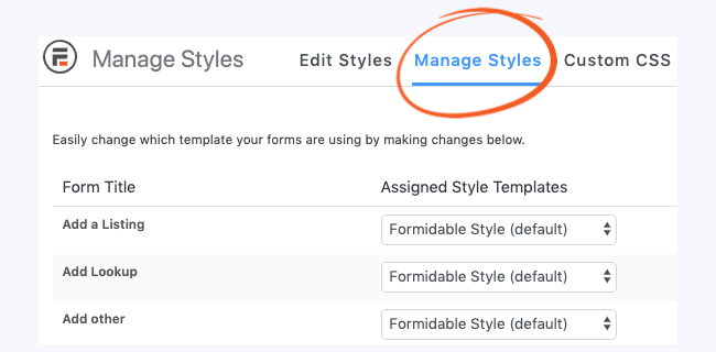Visual Form Styler Manage Form