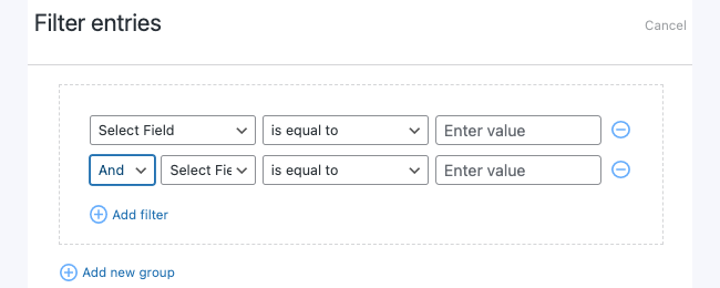 Visual View Settings - Filter Entries