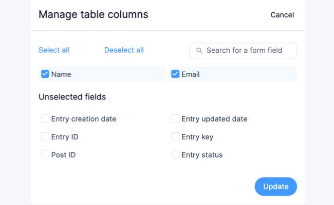 Visual Views Settings - Manage Table Columns