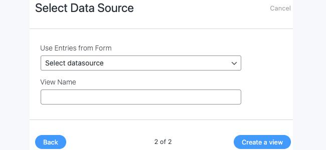 Visual View Settings - Select Data Source