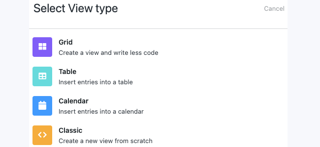 The options for a new view type for an online journal.