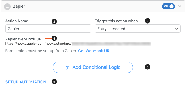 Zapier Form Action Settings