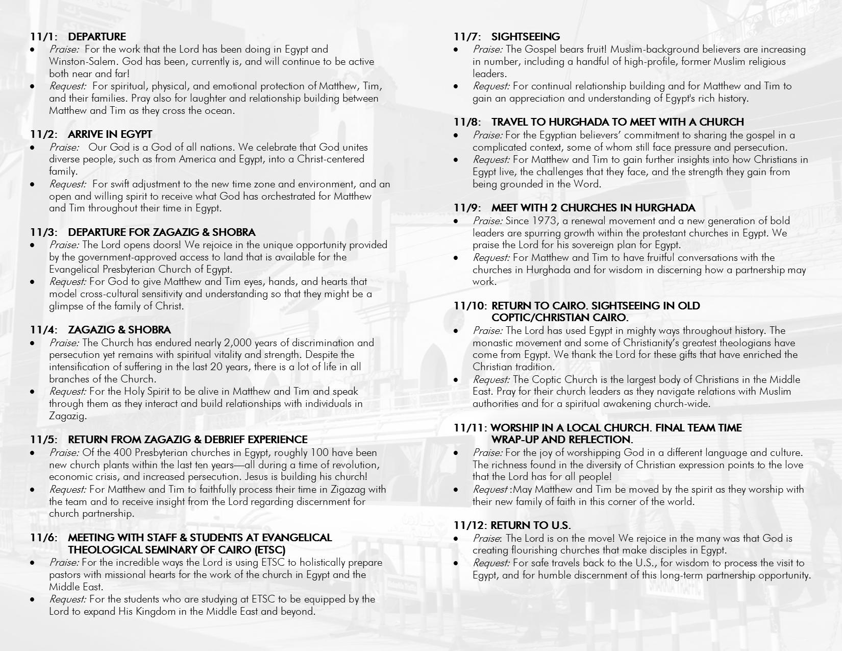 Egypt Trip Prayer Guide – First Presbyterian Church