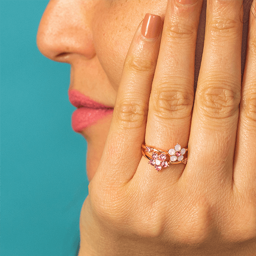 edafa528991 Each ring is made with an assortment of Swarovski® Crystals in Rose Water  Opal, Light Rose, ...
