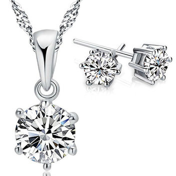 Free 925 Sterling Silver Cubic Zirconia Jewellery Sets