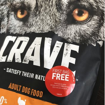 Redeem your first pack of CRAVE dog food for free