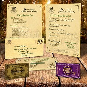 Free personalised Hogwarts Acceptance Package